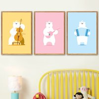 Wholesale painting guitars for sale - Group buy Kawaii Guitar Cello Accordion Bear Nordic Posters And Prints Wall Art Canvas Painting Wall Pictures For Kids Room