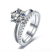 Wholesale synthetic diamond ring white gold for sale - Group buy Total ct wedding ring set white gold Plated synthetic diamond rings Engagement solid silver ring rings in one set