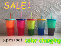 710ml Temperature Color Changing Cup Plastic Tumbler Cold Drink Bottle with Straw and Lid Magic Cup Summer Drinkware Free Shipping