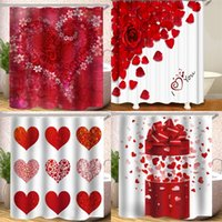 Wholesale waterproof polyester material resale online - Shower Curtain x180cm Waterproof Occlusion Bath Curtains Love Rose Petals Polyester Material Digital Printing hs B2