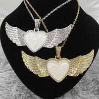 20Pcs Lot Factory Direct Sale Free Shipping Custom Jewelry Sublimation Heart Shape Angel Wings Necklace For Promotion Gifts