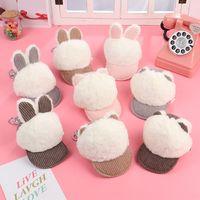 Wholesale cat fabric purse for sale - Group buy Imitation fur rabbit cat ear coin purse female Korean cute plush key bag fabric card tu Er Tu Er Card rabbit ear bag