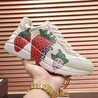 Wholesale leather sa resale online - Hot Women Fashion Shoes Leather Luxury Rhyton Sneaker With Strawberry Sports Scarpe Da Donna With Origin Box Lady Shoes Fashion Footwears Sa