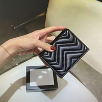 Wholesale credit card case wallet resale online - 466492 Marmont Wallet Card Case Top Quality Fashion Women Coin Purse Pouch Quilted Leather Mini Short Wallets Main Credit Card Holder Clutch