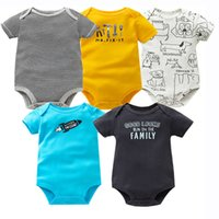 Wholesale quality baby boy clothes resale online - 5PCS Baby Bodysuit O neck Short Sleeve Cotton Baby Clothing High Quality Baby Jumpsuit Infant Newborn Bebe Boy Girl Clothes