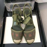 Wholesale unique summer sandals resale online - Top quality Summer brand female designer sandals hand woven straw canvas shoes designer slide unique letter high heeled sandals