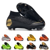 Wholesale cleats for soccer ronaldo resale online - Mens FG Cleats Black Super fly VI Elite Neymar High Ankle Outdoor Soccer Shoes Ronaldo CR7 Mercurial Football Crampons Boots for Male