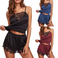 Women Pajama Sets Lace Patchwork Sleepwear Ladies Sexy Lingerie Vest Shorts Nightwear Suit Female Hot Erotic Underwear 050721