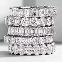 Wholesale sterling silver eternity band ring resale online - Choucong Vintage Fashion Jewelry Real Sterling Silver Princess White Topaz CZ Diamond Eternity Women Wedding Engagement Band Ring Gift