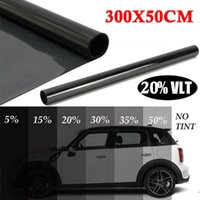 ingrosso tinte della finestra-300cmx50cm Black Car Window Tint Tinting Film Roll Car Auto Home Window Glass Summer Solar UV Protector Sticker Films