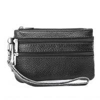 Wholesale litchi wallet purse resale online - New litchi genuine leather coin wallet zipper wallet purse women s key bag zipper wrist bag long leather coin purse