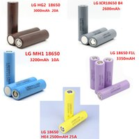 Wholesale 100 Top Quality for LG HE4 HG2 MH1 F1L B4 Battery mAh Batteries Rechargable Lithium