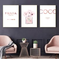 Wholesale cartoon wall painting bedroom for sale - Group buy Abstract Canvas Painting Perfume Pink Peony Posters And Prints Quotes Perfume Bottle Painting Wall Pictures For Bedroom Decor
