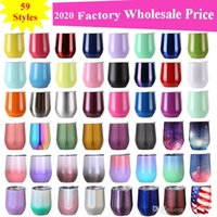 Wholesale 12OZ Stainless Steel Tumbler Wine Glasses Egg Cup Water Bottle Layer Vacuum Insulated Beer Mug Champagne Coffee Mugs With Lids Wine glass