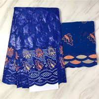 Wholesale African bazin riche fabric african lace fabric wedding yards Royalblue nigerian lace fabric for dress bazin brode