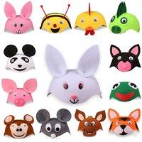 Wholesale monkey hat resale online - Children s zodiac cartoon animal Prop headdress hat cute puppychicken pig lamb monkey headdress props