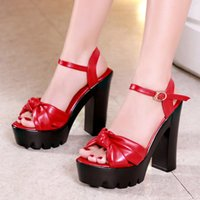 Wholesale sandal creepers for sale - Group buy Plus Size High Heels Shoes Summer Sandals Ladies Block Heel Platform Sandals Women Black Red White Sandal Creepers