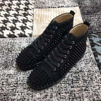 Wholesale full leather shoes for men resale online - 2020 NEW Red Bottom Sneakers Drill nail shoe High gang Suede spike Shoes For Men and Women Shoes cowboy Martin Party crystal Leather Sn GH2