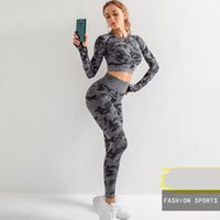 Wholesale the yoga for sale - Group buy US Stock pc Yoga Outfits Camouflage Suit GYM Top Long Sleeve High Waist Legging workout suit