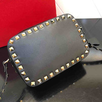 Wholesale nails leather resale online - High quality real cowhide leather bag fashion willow nail womens small square bag classic camera bag