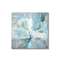 Wholesale best abstract art painting canvas for sale - Group buy Best Sale Modern Abstract Handmade Canvas Oil Painting Gray and Blue Landscape Wall Art Posters Picture for Living Room Decor