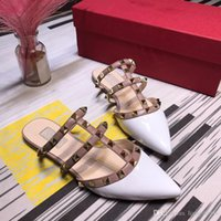 Wholesale sexy clay resale online - Designer dress shoes women fashion sexy hollow sandals summer ladies shallow shoes ladies beaded flat crystal ribbon yi190404