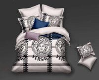 Wholesale queen duvet covers resale online - Newest Branded Letter Print Polyester Cotton Bedding Set Designer Bed Sheets Cotton Cover Pillow Cases Queen Size Soft Duvet Cover