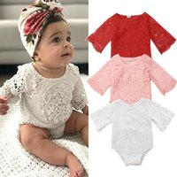 Wholesale pink romper suit for sale - Group buy Newborn Baby Girl Lace White Red Pink Floral Romper Toddler Infants Body Suit Jumpsuit Outfits Clothes Summer Clothings Sunsuits