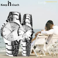 Wholesale lovers watches pair resale online - Luxury Couple Watches Pair Men And Women Waterproof Calendar Stainless Steel Lovers Watch Couples Gift Dropshipping Couple Watch