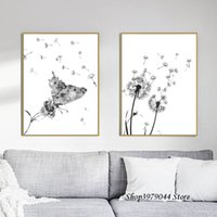 Wholesale black canvas white flower painting resale online - Abstract Dandelion Canvas Painting Flower Wall Picture Butterfly Poster Black And White Art Print Nordic Decoration Home Poster
