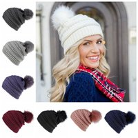 Wholesale fluffy caps for sale - Group buy Women Knitted Hat Warm Fluffy Ball Female Beanies Cap Pom Pom Beanie Lady Skull Beanie Solid Color Crochet Ski Outdoor party Caps LJJP217