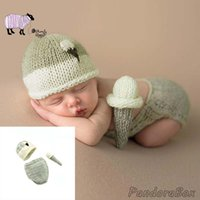 Wholesale doll photo boy resale online - Newborn Photography Prop Baby Boy Girl Photo Shoot Doll Hat Outfits Set Infant fotoshooting Accessories Baby Shower Gift Clothes