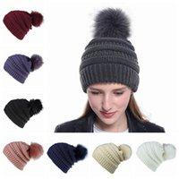 Wholesale fluffy caps resale online - Women Knitted Hat Warm Fluffy Ball Female Beanies Cap Beanie Lady Skull Beanie Solid Color Crochet Winter Ski Outdoor Party Caps LJJP240