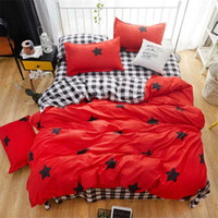Wholesale kids twin beds resale online - Cartoon sanding fabric kids stars four pieces bedding set duvet cover sheet pillowcase home bed decoration