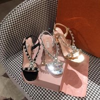 Wholesale sandals gems resale online - Summer Gem heels Roman sandals thick rhinestone women open toe