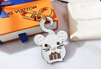 Wholesale electronic fox for sale - Group buy with Box Unisex Luxury Keychain Purse Pendant Bags Cars Chains Key Rings for Women Gifts Women Mouse Leather Keychains robot fox mouse U