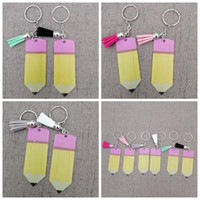 Wholesale decorative key gifts resale online - Tassel Decorative Buckle Keyring Keychain Teacher Appreciation Gifts Pencil Dangle Charms Key Chain Halloween Christmas Party Favor RRA3374