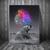 ingrosso arredamento in fantasia-Fantasy Elephant Wall Art Poster Animal stampa su tela parete Pop Art Immagini decorativo per Living Room Decor No Frame