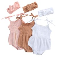 Wholesale linen baby boy clothes resale online - 2020 Baby Summer Clothing Infant Newborn Baby Girls Boys Solid Cotton Linen Bodysuits Sleeveless Strap Jumpsuits Headband Cute