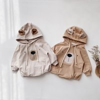 Wholesale hooded animal jumpsuit for babies resale online - Spring summer cute cartoon bear hooded bodysuits for baby boys and girls kids toddler baby jumpsuits