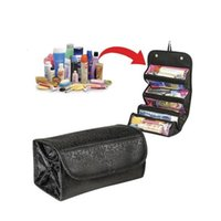 Wholesale rolling makeup case resale online - Foldable Rolls Up Cosmetic Bag Waterproof Makeup Bag Female Make up Hanging Bags Women Neceser Toiletry Case Travel Organizer