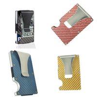 Wholesale place cards holders resale online - 9x6x1 cm Carbon Fiber Rfid Card Bag Wallet Metal Bank Holder Wallets Business ID Cards Place Billfold Man Woman Unisex bt B2