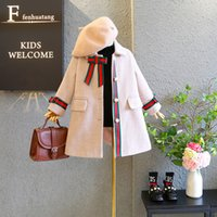 2020 new girls pearl button woolen coat jacket Kids Children's boutique clothing Baby Kids Clothing Outwear Coat