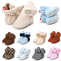 Baby First Walkers Toddler Walking Shoes Soft-soled Non-slip Kids Prewalker High Top Cotton Shoes 12 Colors 0-12 M Infant Toddler 060729