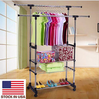 convenient Organizer Indoor Clothes Rack Dual Bars Horizontal & Vertical Telescope Style 3 Tiers Stainless Steel Clothing Garment Shoe