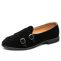 Wholesale double buckle shoes mens resale online - Fashion Man Double Monk Strap Shoes Cow Suede Oxford Shoes Formal Slip on Dress Shoes Mens Casual Lightweight Loafers