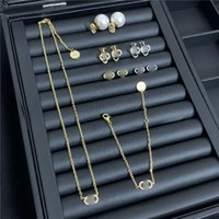 Wholesale set jewerly necklaces resale online - Luxury Letters Necklace Diamond Pearl Designer Earrings Women Brand Necklace Jewerly Set Charm Earring Studs Gift