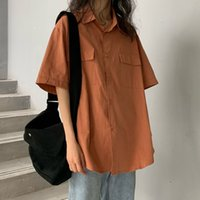 simple shirt blouse 2021 - Mazefeng 2020 New Shirts For Womens pocket Tops Female Long Sleeve Spring Solid Shirts Ladies simple Loose Style Blouses