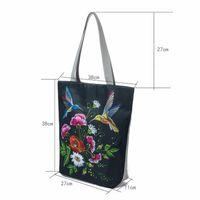 Wholesale lady bird bag for sale - Group buy Vintage Floral Print Women Beach Bags Canvas Female Tote Handbags Birds Design Lady Shoulder Bags Shopping Bag
