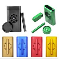 Wholesale ground pipes for sale - Group buy Aluminum Grind Case Pinch Hitter Grinder Combo Tobacco Grinder Dugout Pipe Case With Storage Room Case Smoking Pipe Outdoor Kit